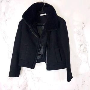 Vince real fur black wool jacket coat